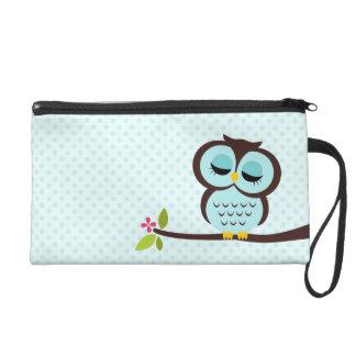 Cute Aqua Owl Wristlet