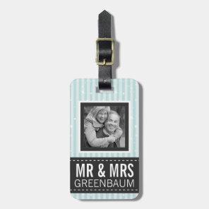 Cute Aqua Stripes Mr and Mrs Custom Photo Luggage Tag