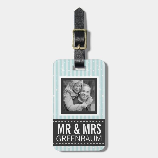Cute Aqua Stripes Mr and Mrs Custom Photo