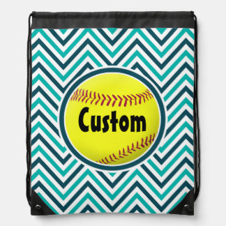 Cute Aqua Teal and Navy Blue Chevron Softball Bag Drawstring Bags