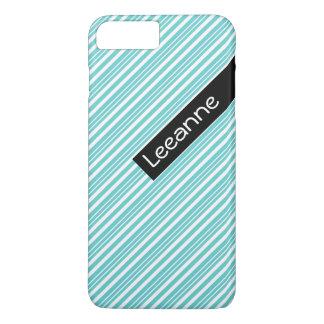 Cute aqua, white, black striped pattern iPhone 7 plus case