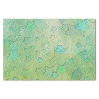 Cute Aquamarine and Green Stars Tissue Paper
