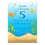 cute aquarium fishy birthday party 13 cm x 18 cm invitation card