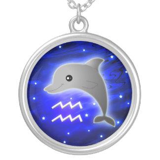 Cute Aquarius Zodiac Silver Plated Necklace