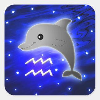 Cute Aquarius Zodiac Square Sticker