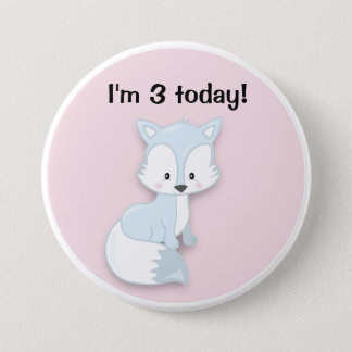 Cute Arctic Fox on Pink Birthday Button
