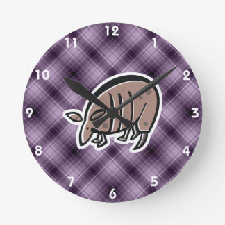 Cute Armadillo; Purple Round Clock