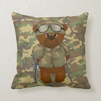 Cute Armed Forces Teddy Bear Military Mascot Cushion