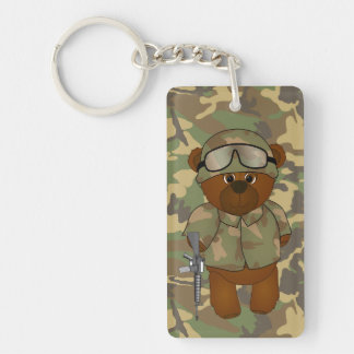 Cute Armed Forces Teddy Bear Military Mascot Double-Sided Rectangular Acrylic Key Ring