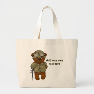 Cute Armed Forces Teddy Bear Military Mascot Large Tote Bag
