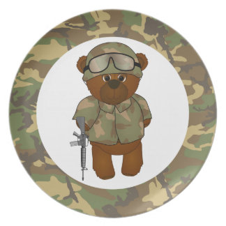 Cute Armed Forces Teddy Bear Military Mascot Plate