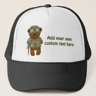 Cute Armed Forces Teddy Bear Military Mascot Trucker Hat