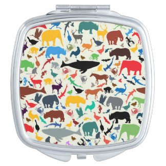 Cute array of illustrated animals mirrors for makeup