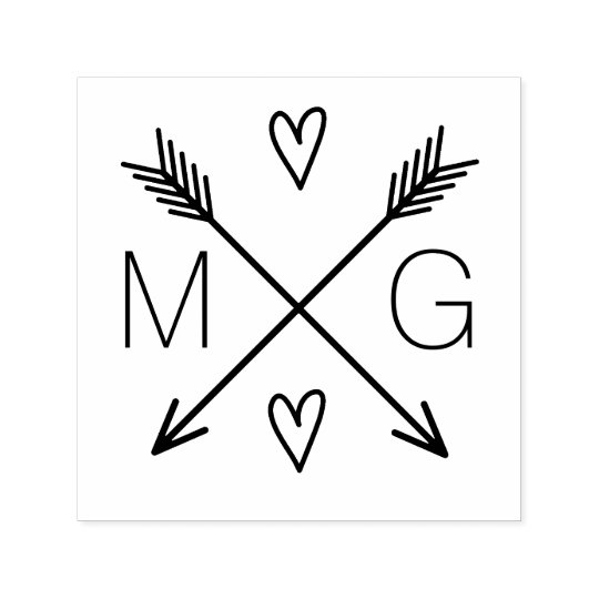 Cute Arrows Hearts Double Monogram Wedding Logo Self-inking