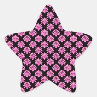 Cute Art Nouveau Pattern Pink Black Star Sticker