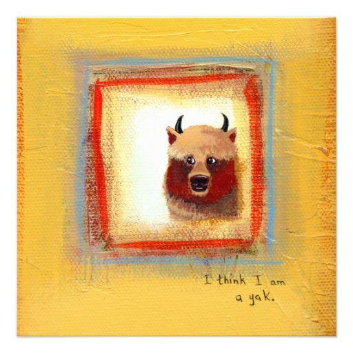 Cute art yak couple fun relationship painting custom announcements