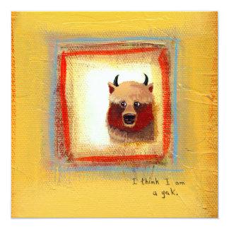 "Cute art yak couple fun relationship painting 5.25"" square invitation card"