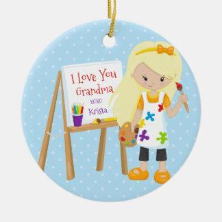 Cute Artist Grandparent Christmas Ornament