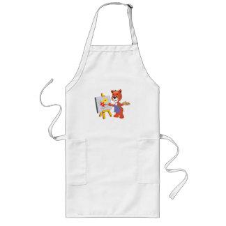 cute artist teddy bear graphic long apron