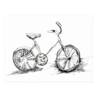 Cute Artistic Bike Drawing Postcard