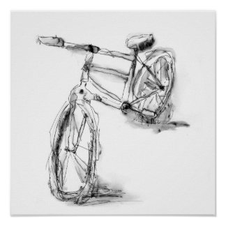 Cute Artistic Bike Drawing Print