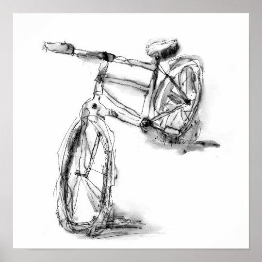 Cute Artistic Bike Drawing Poster