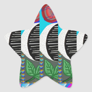 CUTE Artistic MOON Pattern : By NavinJOSHI Star Sticker