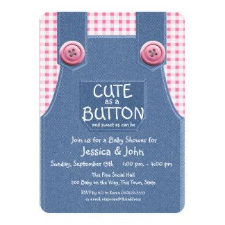 Cute as a Button Denim and Pink 11 Cm X 16 Cm Invitation Card
