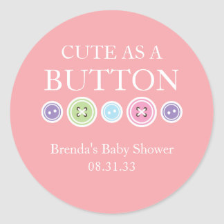 Cute as a Button Girl Sticker