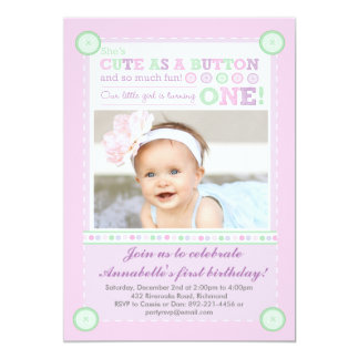Cute as a Button (Pastels) First Birthday (Photo) 13 Cm X 18 Cm Invitation Card