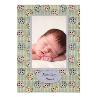 Cute as a Button Photo Birth Announcement