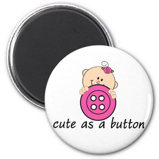 Cute as a Button PINK Fridge Magnet