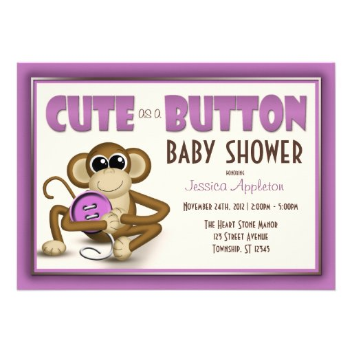 Cute as a Button Purple Baby Shower Invitation