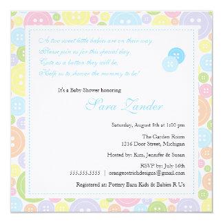 "Cute as a Button Twin Boys Baby Shower Invitation 5.25"" Square Invitation Card"