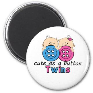 Cute As A Button Twin Girl & Boy 6 Cm Round Magnet