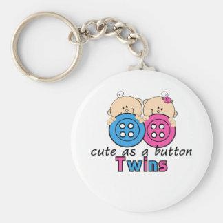 Cute As A Button Twin Girl & Boy Keychain