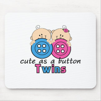Cute As A Button Twin Girl Boy Mouse Pad