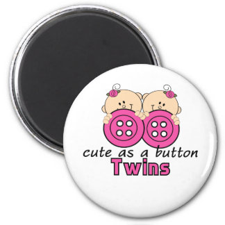 Cute As A Button Twin Girls 6 Cm Round Magnet