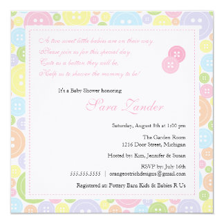"Cute as a Button Twin Girls Baby Shower Invitation 5.25"" Square Invitation Card"