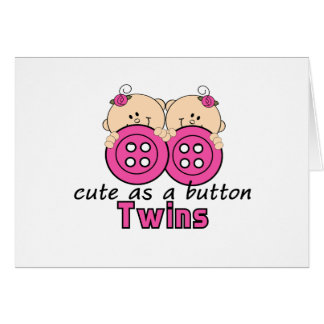 Cute As A Button Twin Girls Greeting Cards