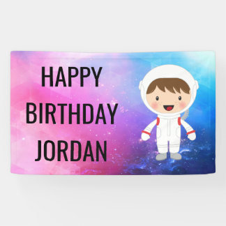 Cute Astronaut Space Theme Birthday Party Banner