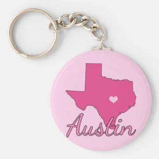 Cute Austin Texas Girl Pink Key Ring