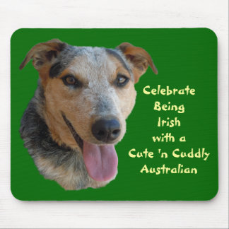 Cute Australian Cattle Dog is Irish at Heart Mouse Pad