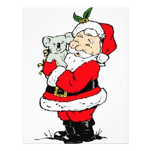 Cute Australian Christmas Santa with koala 21.5 Cm X 28 Cm Flyer