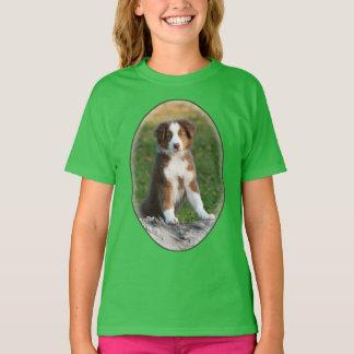 Cute Australian Shepherd Dog Puppy Photo - girl T-Shirt
