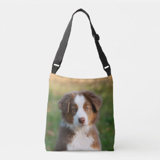 Cute Australian Shepherd Dog Puppy Photo on - Crossbody Bag