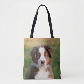 Cute Australian Shepherd Dog Puppy Photo - Shopper Tote Bag