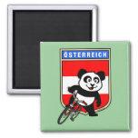 Cute Austria Cycling Panda Square Magnet