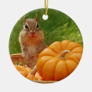 Cute Autumn Chipmunk Round Ceramic Decoration