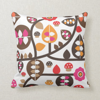 Cute autumn flower leaf toad retro pattern cushion